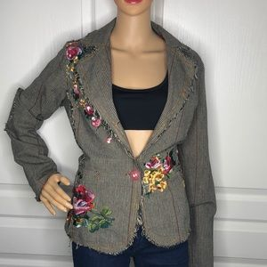 Anthro Entity Floral Embroidered Blazer Size L